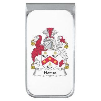 Escudo de la familia de Horne Clip Para Billetes Plateado
