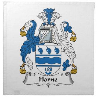 Escudo de la familia de Horne Servilleta Imprimida