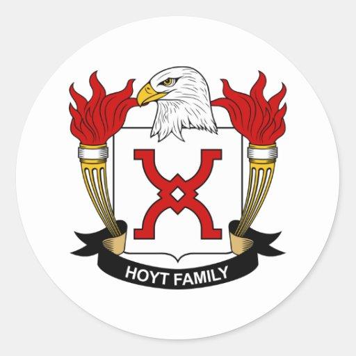 Escudo de la familia de Hoyt Pegatina Redonda