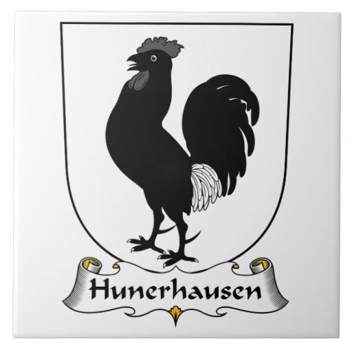 Escudo de la familia de Hunerhausen Azulejo Ceramica