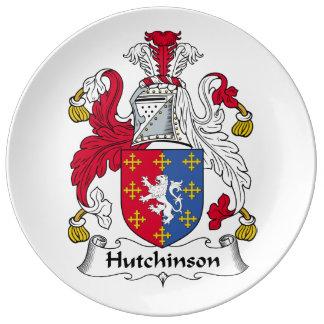 Escudo de la familia de Hutchinson Platos De Cerámica
