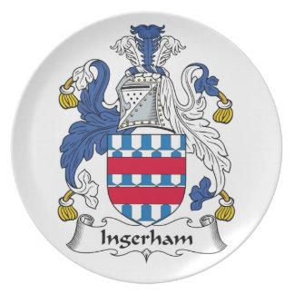Escudo de la familia de Ingerham Plato Para Fiesta