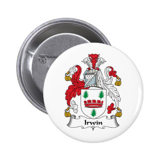 Escudo de la familia de Irwin Pin Redondo De 2 Pulgadas