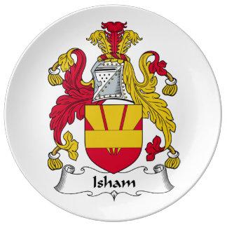 Escudo de la familia de Isham Platos De Cerámica