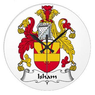 Escudo de la familia de Isham Reloj Redondo Grande