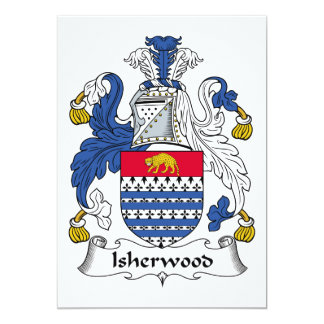 """Escudo de la familia de Isherwood Invitación 5"""" X 7"""""""