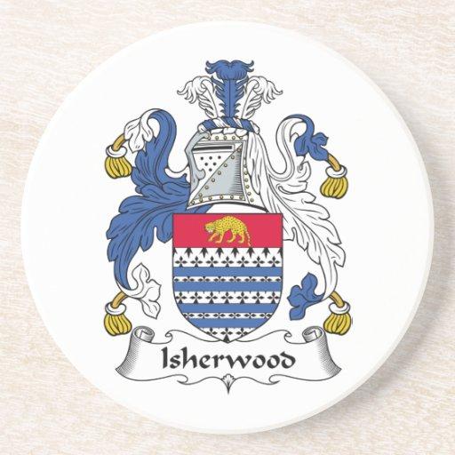 Escudo de la familia de Isherwood Posavasos Cerveza