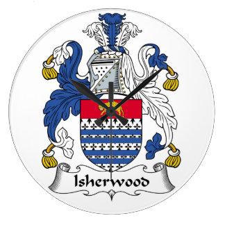 Escudo de la familia de Isherwood Reloj Redondo Grande