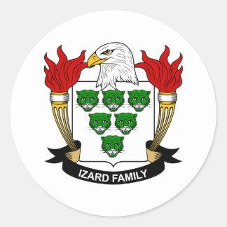 Escudo de la familia de Izard Pegatina Redonda