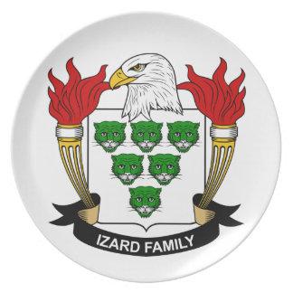 Escudo de la familia de Izard Plato Para Fiesta