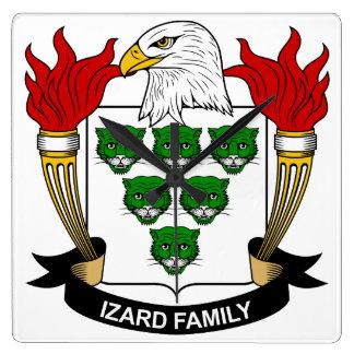Escudo de la familia de Izard Reloj De Pared