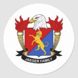 Escudo de la familia de Jaeger Pegatina Redonda