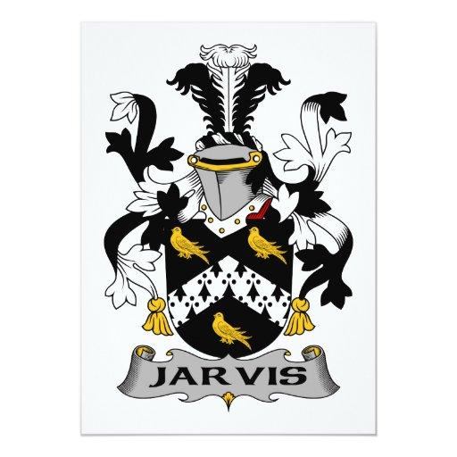 Escudo de la familia de Jarvis Invitación 12,7 X 17,8 Cm