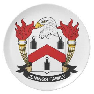 Escudo de la familia de Jenings Plato Para Fiesta