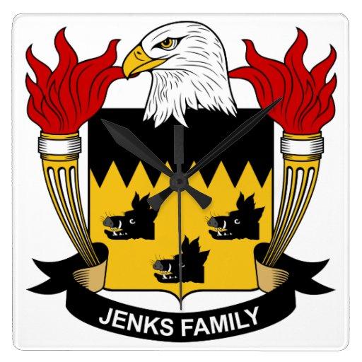 Escudo de la familia de Jenks Reloj Cuadrado