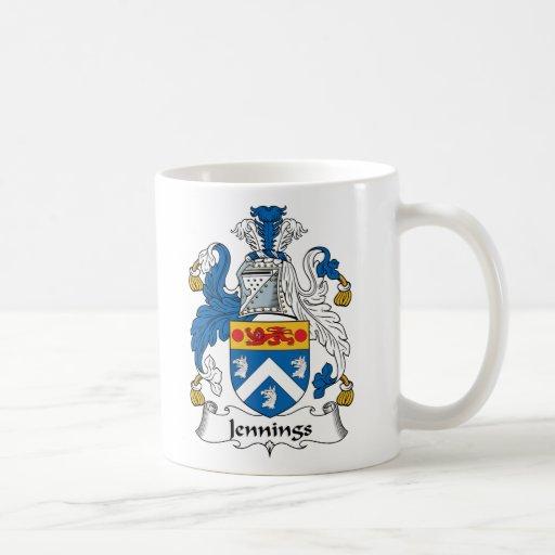 Escudo de la familia de Jennings Tazas De Café