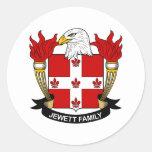 Escudo de la familia de Jewett Etiqueta Redonda