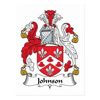 Escudo de la familia de Johnson Tarjeta Postal