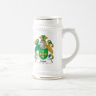 Escudo de la familia de Jones Jarra De Cerveza