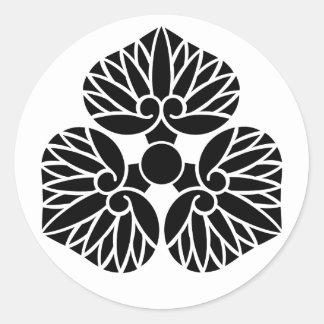 escudo de la familia de Kamon del japonés del liri Pegatina Redonda