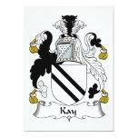 Escudo de la familia de Kay Invitación 12,7 X 17,8 Cm