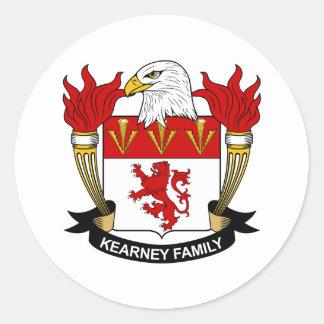 Escudo de la familia de Kearney Etiquetas Redondas