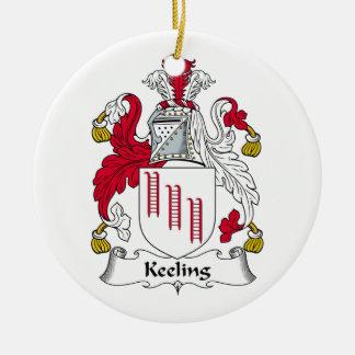 Escudo de la familia de Keeling Adorno Redondo De Cerámica