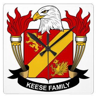 Escudo de la familia de Keese Reloj Cuadrado