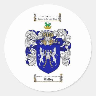 ESCUDO DE LA FAMILIA DE KELLEY - ESCUDO DE ARMAS ETIQUETA REDONDA