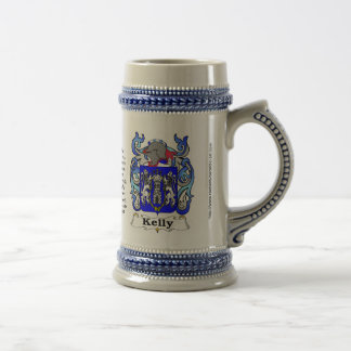 Escudo de la familia de Kelly en un Stein Tazas De Café