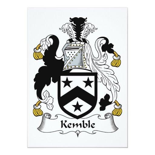"""Escudo de la familia de Kemble Invitación 5"""" X 7"""""""
