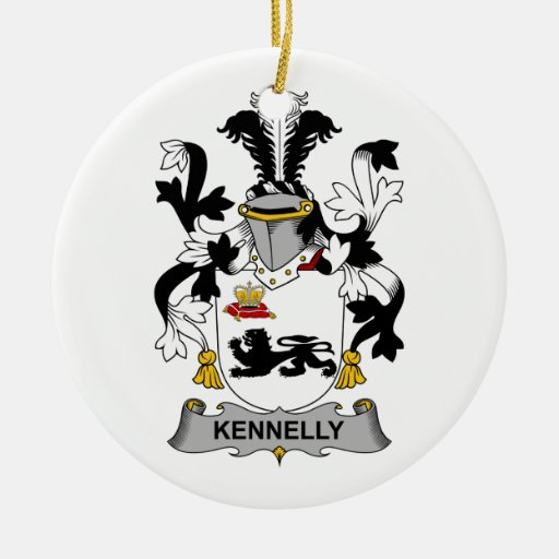 Escudo de la familia de Kennelly Adorno Navideño Redondo De Cerámica