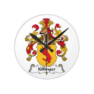Escudo de la familia de Killinger Reloj Redondo Mediano