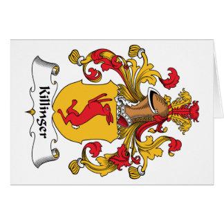 Escudo de la familia de Killinger Tarjeta De Felicitación