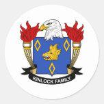 Escudo de la familia de Kinlock Pegatina Redonda
