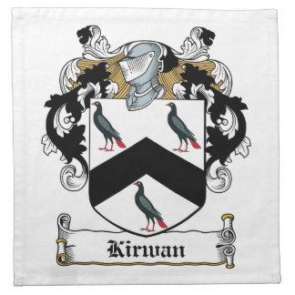 Escudo de la familia de Kirwan Servilleta Imprimida