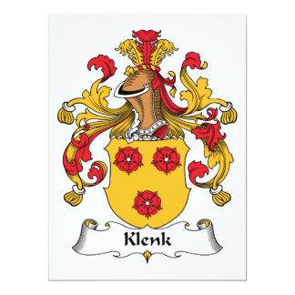 """Escudo de la familia de Klenk Invitación 6.5"""" X 8.75"""""""
