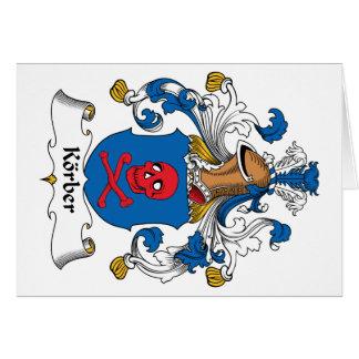 Escudo de la familia de Korber Tarjeta De Felicitación