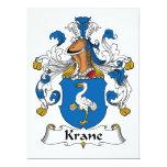 Escudo de la familia de Krane Invitación 16,5 X 22,2 Cm
