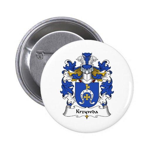 Escudo de la familia de Krzywda Pin Redondo De 2 Pulgadas