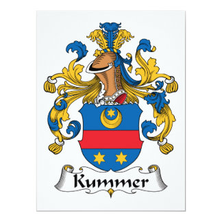 Escudo de la familia de Kummer Invitación 16,5 X 22,2 Cm