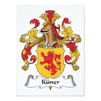 Escudo de la familia de Kuner Invitación 16,5 X 22,2 Cm