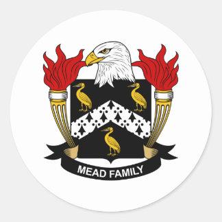 Escudo de la familia de la aguamiel pegatina redonda