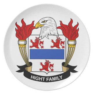 Escudo de la familia de la altura platos de comidas