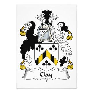Escudo de la familia de la arcilla invitacion personalizada