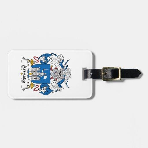 Escudo de la familia de la armada etiquetas bolsa