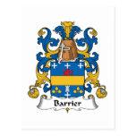 Escudo de la familia de la barrera tarjetas postales