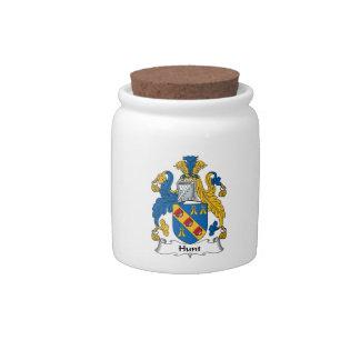 Escudo de la familia de la caza jarras para caramelos