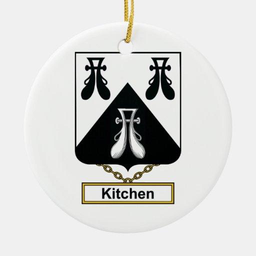 Escudo de la familia de la cocina adorno redondo de cerámica