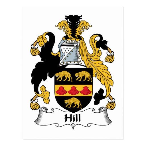 Escudo de la familia de la colina tarjetas postales